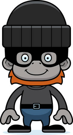 orangutan: A cartoon thief orangutan smiling.