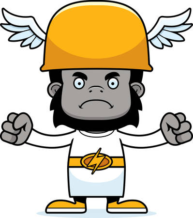 hermes: A cartoon Hermes gorilla looking angry. Illustration