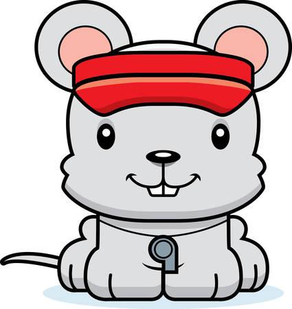 lifeguard: A cartoon lifeguard mouse smiling. Illustration