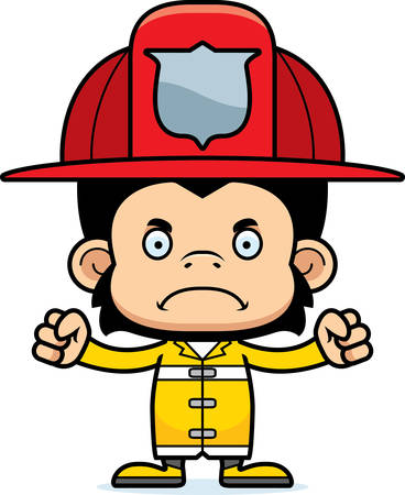 chimp: A cartoon firefighter chimpanzee looking angry.
