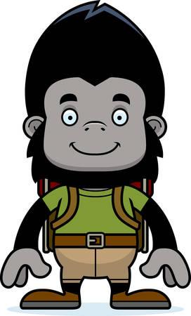 A cartoon hiker gorilla smiling. Illusztráció