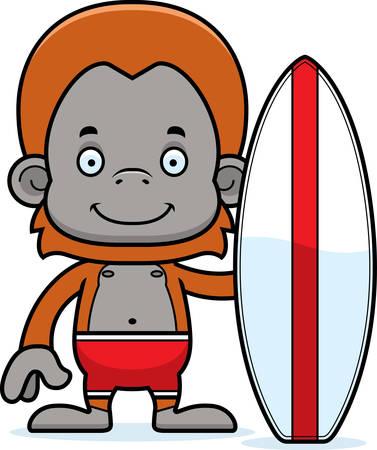 A cartoon surfer orangutan smiling. Stock Illustratie