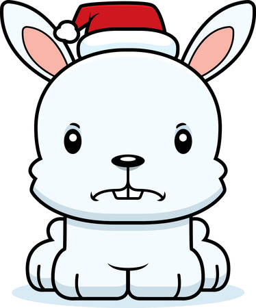 bunny xmas: A cartoon Xmas bunny looking angry.
