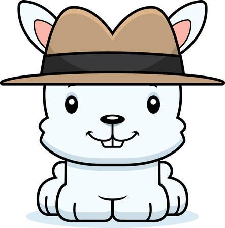 A cartoon detective bunny smiling. Çizim