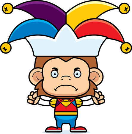 A cartoon jester monkey looking angry.