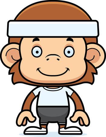 headbands: Un mono de fitness sonriente de la historieta.
