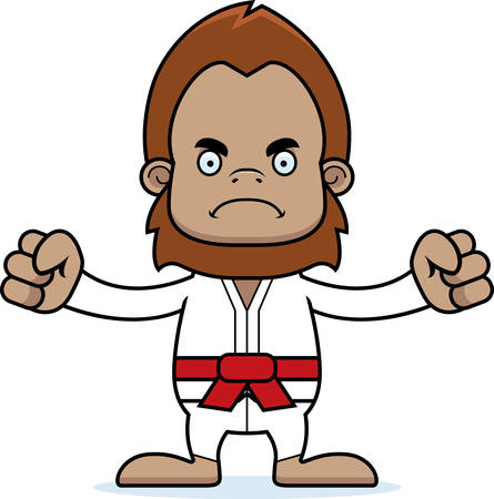 sasquatch: A cartoon karate sasquatch looking angry. Illustration