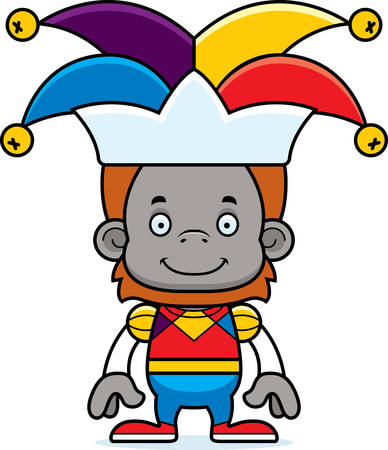orangutan: A cartoon jester orangutan smiling.