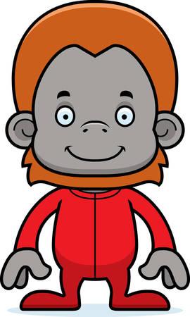 orangutan: A cartoon orangutan smiling in pajamas. Illustration