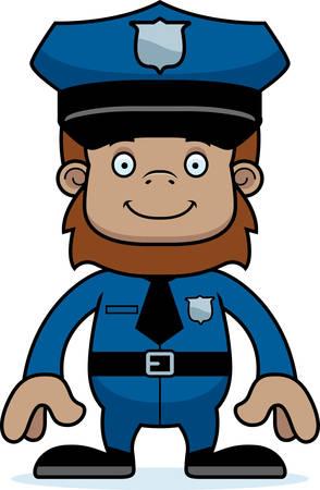 sasquatch: A cartoon police officer sasquatch smiling. Illustration