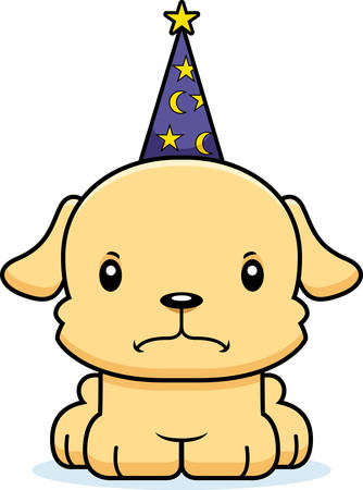 A cartoon wizard puppy looking angry. Ilustrace