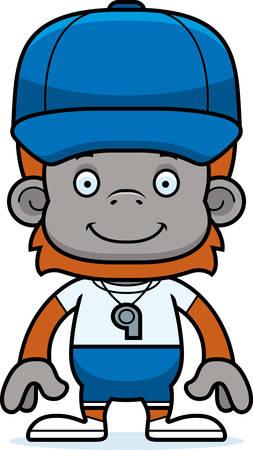 A cartoon coach orangutan smiling. Illustration