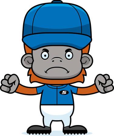 orangutan: A cartoon baseball player orangutan looking angry.