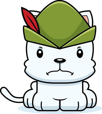 robin hood: A cartoon Robin Hood kitten looking angry. Illustration