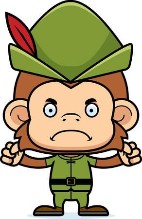 robin hood: A cartoon Robin Hood monkey looking angry.