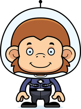 spacesuit: A cartoon spaceman monkey smiling.