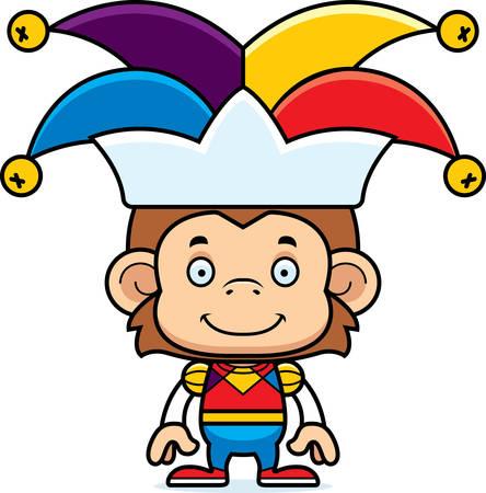 A cartoon jester monkey smiling. Ilustrace