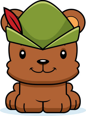 A cartoon Robin Hood bear smiling.
