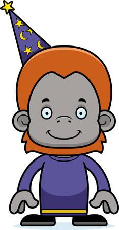 A cartoon wizard orangutan smiling.