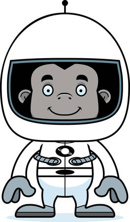 spacesuit: A cartoon astronaut gorilla smiling.