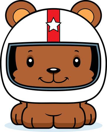 car driver: A cartoon race car driver bear smiling. Illustration