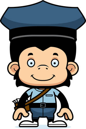 mail carrier: A cartoon mail carrier chimpanzee smiling.