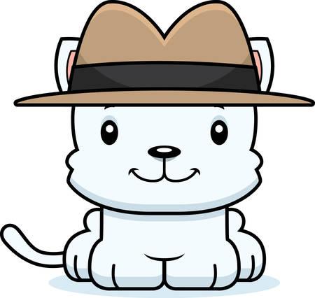 A cartoon detective kitten smiling.
