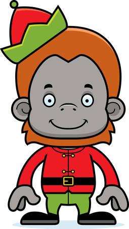 orangutan: A cartoon Xmas elf orangutan smiling. Illustration