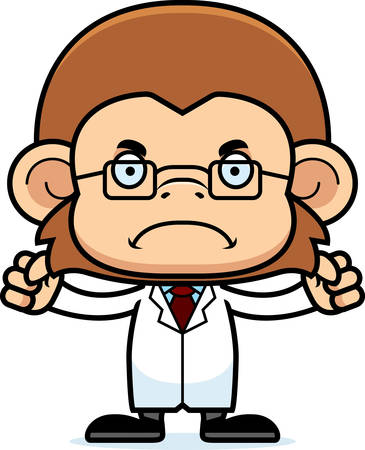 A cartoon scientist monkey looking angry.