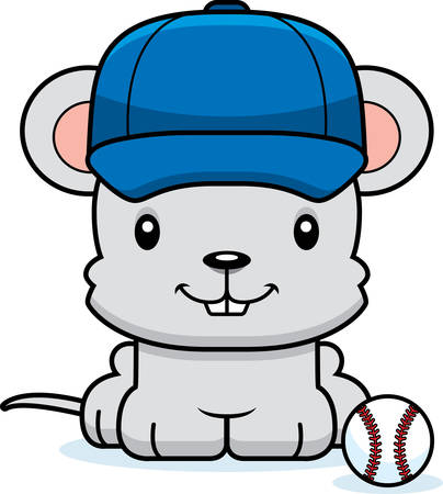 baseball cartoon: A cartoon baseball player mouse smiling.