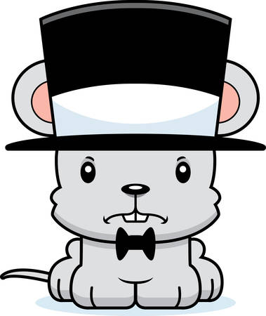 top hat: A cartoon mouse looking angry in a top hat.