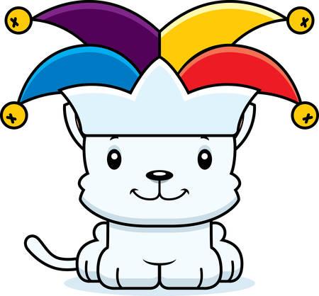 A cartoon jester kitten smiling. Ilustrace