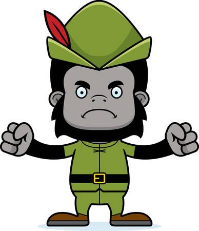 robin hood: A cartoon Robin Hood gorilla looking angry.