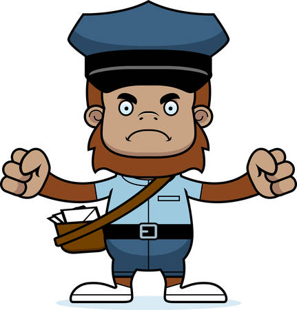 A cartoon mail carrier sasquatch looking angry.