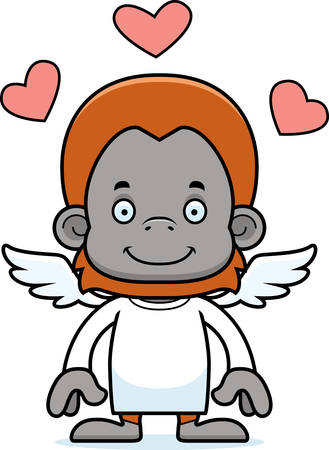 orangutan: A cartoon cupid orangutan smiling.