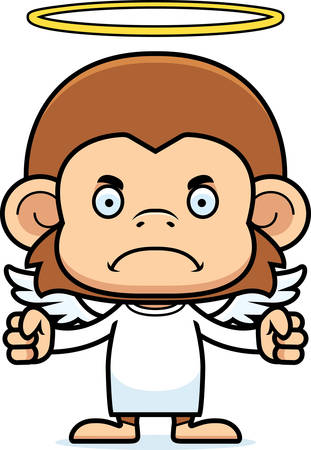 A cartoon angel monkey looking angry.