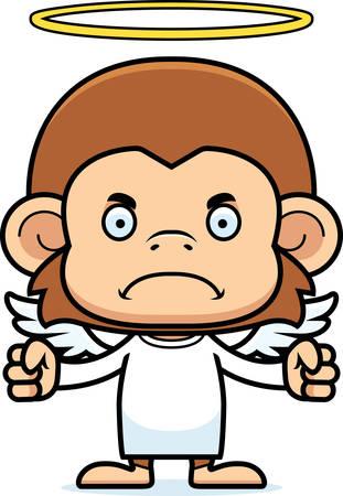 angry angel: A cartoon angel monkey looking angry.