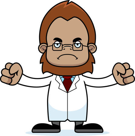 sasquatch: A cartoon scientist sasquatch looking angry. Illustration