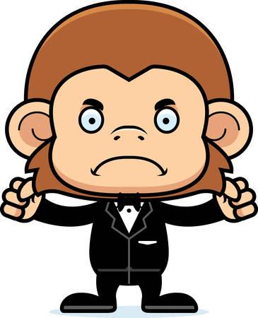 A cartoon groom monkey looking angry.