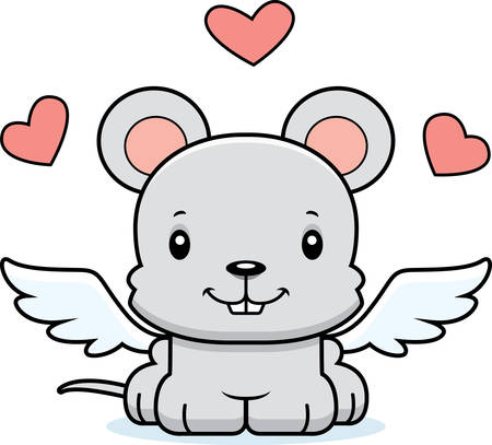 A cartoon cupid mouse smiling.