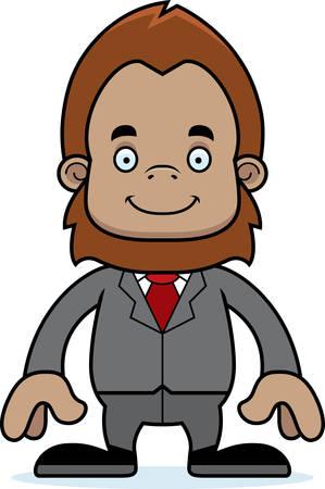 sasquatch: A cartoon businessperson sasquatch smiling.