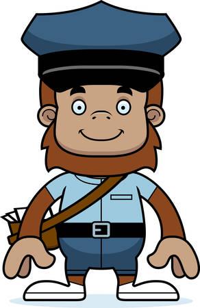 A cartoon mail carrier sasquatch smiling.