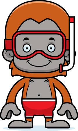 A cartoon snorkeler orangutan smiling.