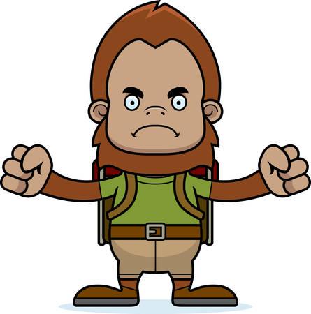sasquatch: A cartoon hiker sasquatch looking angry.