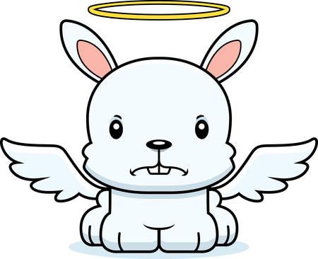 angry angel: A cartoon angel bunny looking angry.