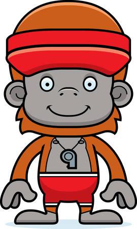 lifeguard: A cartoon lifeguard orangutan smiling.