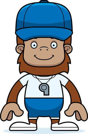 sasquatch: A cartoon coach sasquatch smiling. Illustration