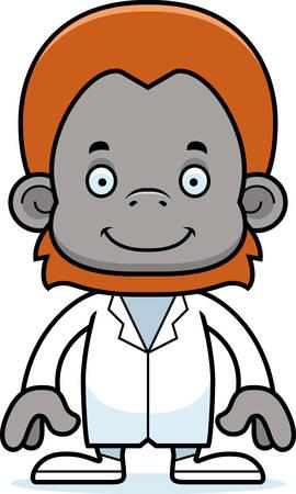 orangutan: A cartoon doctor orangutan smiling. Illustration