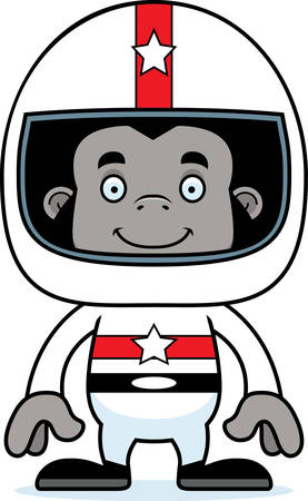 car driver: A cartoon race car driver gorilla smiling.
