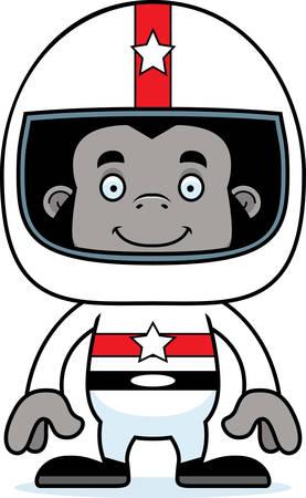 car driver: A cartoon race car driver gorilla smiling.